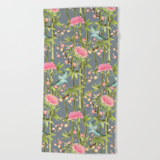 Bamboo, Birds and Blossom - grey Beach Towel