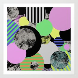 Cluttered Circles - Abstract, Geometric, Pop Art Style Art Print