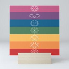 Seven Chakra Mandalas on a Striped Rainbow Color Background Mini Art Print