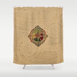 Colorful Hunab Ku Mayan symbol on cotton Shower Curtain
