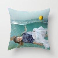 mermaid Throw Pillows featuring Mermaid  by Mary Kilbreath