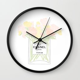 perfume no.5 with pink and yellow flowers Wall Clock