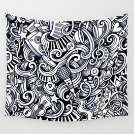 Music doodle pattern Wall Tapestry