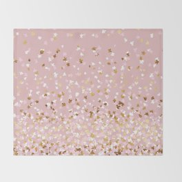 Floating Confetti - Pink Blush and Gold Throw Blanket