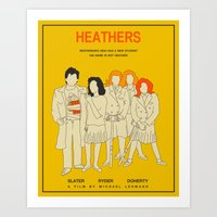 heathers Art Prints featuring HEATHERS by Jazzberry Blue
