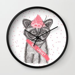 Funny girly raccoon illustration pink tiara Wall Clock