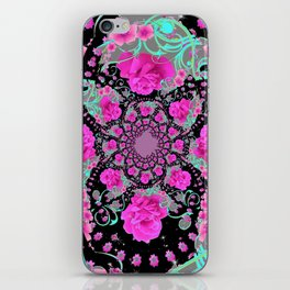 CERISE PINK ROSES & TURQUOISE RIBBONS ON BLACK iPhone Skin