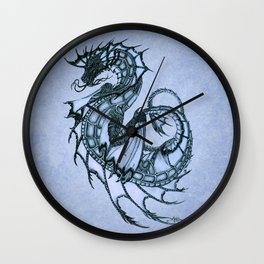 """Tsunami"" by Amber Marine ~ Sea Dragon (Ice Blue Version) ~ Graphite Illustration, (Copyright 2005) Wall Clock"
