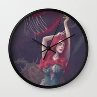 poison ivy Wall Clocks featuring Poison ivy by Sara Meseguer