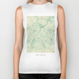 Brussels Map Blue Vintage Biker Tank