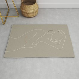 Minimal Line Art Woman Figure Rug