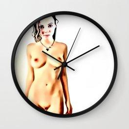 Womans body beauty - Hentai style girl seducing eyes Wall Clock