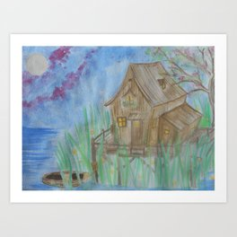 House and lights Art Print