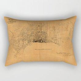 Beautiful 19th Century Vintage Map of Nashville, Tennessee Rectangular Pillow