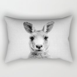 Kangaroo - Black & White Rectangular Pillow