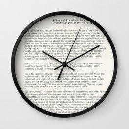 Jane Austen Pride and Prejudice Chapter 3 - public domain book. Wall Clock