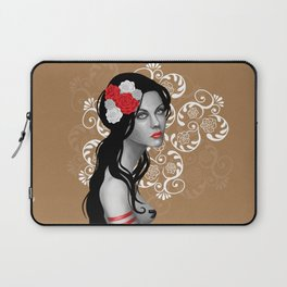 Goth Girl with Flowers in her Hair Laptop Sleeve