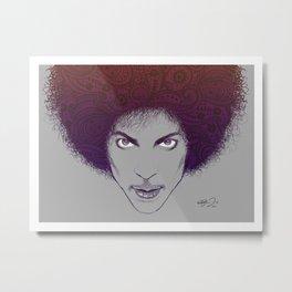 Prince with Paisley Afro Metal Print