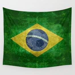 Flag of Brazil with football (soccer ball) retro style Wall Tapestry