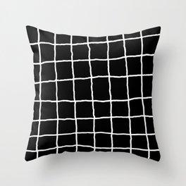 Shaky Grid - Black Throw Pillow
