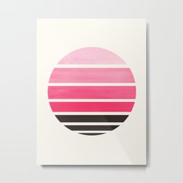 Pink Mid Century Modern Minimalist Circle Round Photo Staggered Sunset Geometric Stripe Design Metal Print