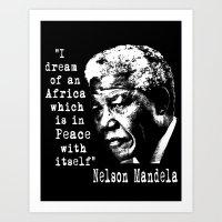 mandela Art Prints featuring Mandela by PsychoBudgie