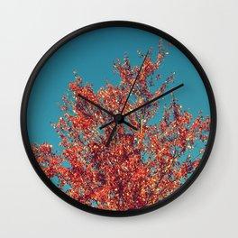 Autumn Tree Teal Sky Wall Clock