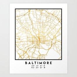 BALTIMORE MARYLAND CITY STREET MAP ART Art Print