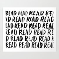 Read, Read, Read (White) Art Print