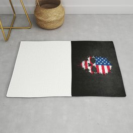 Flag of The United States on a Chaotic Splatter Skull Rug