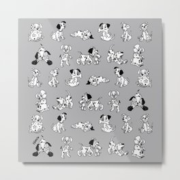 101 Dalmatians B&W Metal Print