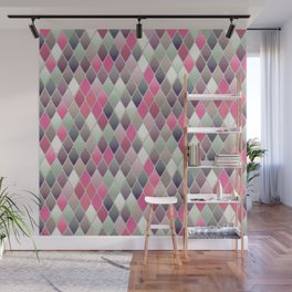 Abstract Pink and Gray Argyle Diamond pattern Wall Mural