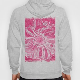 White Flower On Pink Crayon Hoody