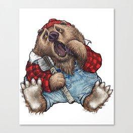 Sleepy LumberJack Bear Canvas Print