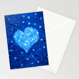 Winter Blue Crystallized Abstract Heart Stationery Cards
