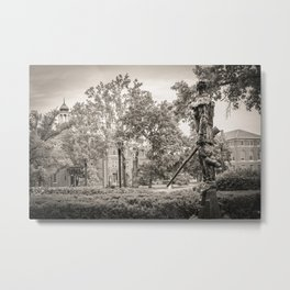 West Virginia Mountaineer Campus View BW Metal Print