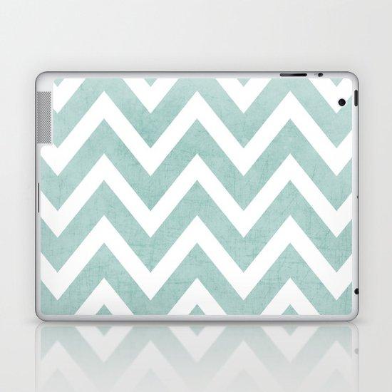 robins egg blue chevron Laptop & iPad Skin