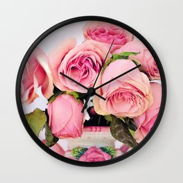 Pink Roses in a Vase Wall Clock