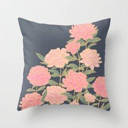 Pink peonies vintage pattern Throw Pillow
