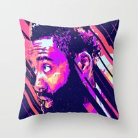 nba Throw Pillows featuring James harden nba illu v3 by mergedvisible