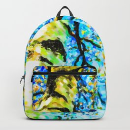Autumn leaves sky background Backpack