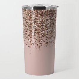 Blush Pink Rose Gold Bronze Cascading Glitter Travel Mug