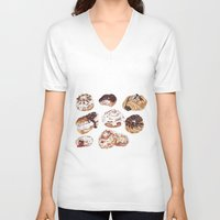 donuts V-neck T-shirts featuring Donuts by heatherinasuitcase