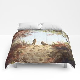 A Walk in the Autumn Woods Comforters