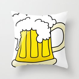 Cartoon Beer Throw Pillow