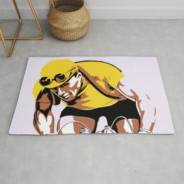 The yellow jersey (retro style cycling) Rug