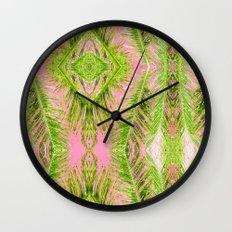 Tropical Palm Pink Green Wall Clock
