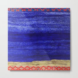 V24 New Blue Calm Traditional Moroccan Carpet Texture. Metal Print