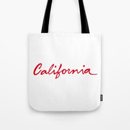 California License Plate Font Palm Trees Sunset Beach Tote Bag