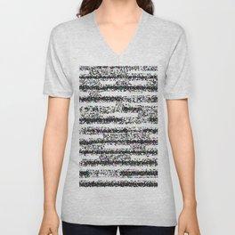 A Pointillist Arrangement of Black and White Unisex V-Neck